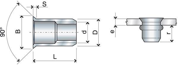 Nitonakrętka cylindryczna otwarta kołnierz stożkowy M16 FTS przekrój