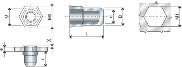 Nitonakrętka sześciokątna zamknięta mini-kołnierz IEC przekrój