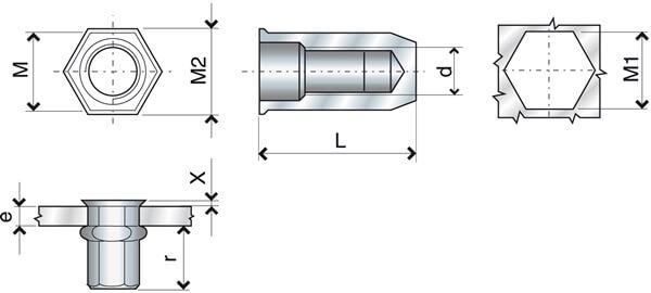 Nitonakrętka sześciokątna zamknięta M16 ERC przekrój