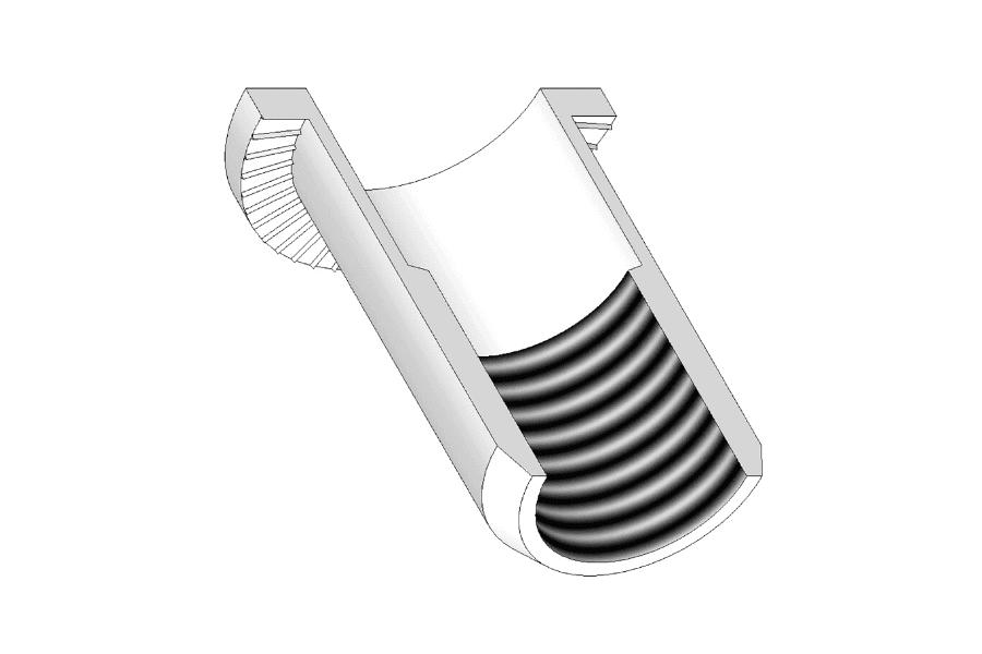 Przekrój nitonakrętki cylindrycznej